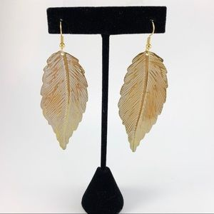 Gold & White Leaf Earrings